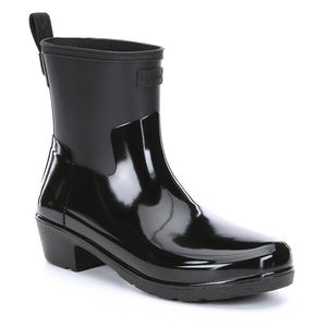 NEW IN BOX HUNTER Black Refined Biker Rain Boots